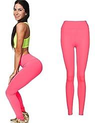 Mujeres Fitness Pantalones Stretch,VENMO YOGA Ejercicio Gimnasio Deportes Pantalones Polainas Cintura Alta (Color de rosa caliente)