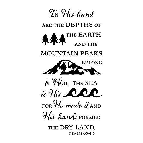 In seiner Hand sind die Tiefen der Erde Bibel Vers Vinyl Wall Decor Psalm 95: 4-5 Wall B 42x86cm