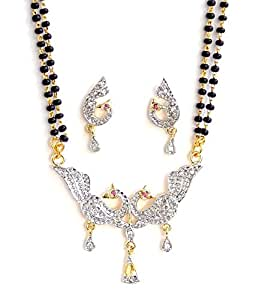 Indian Traditional Mayur American Diamond Gold And Silver Plated Mangalsutra for Women