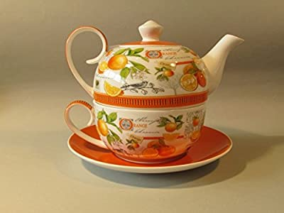 Tea for one set de 4 pièces: scottish diamant orange-théière avec couvercle-tas