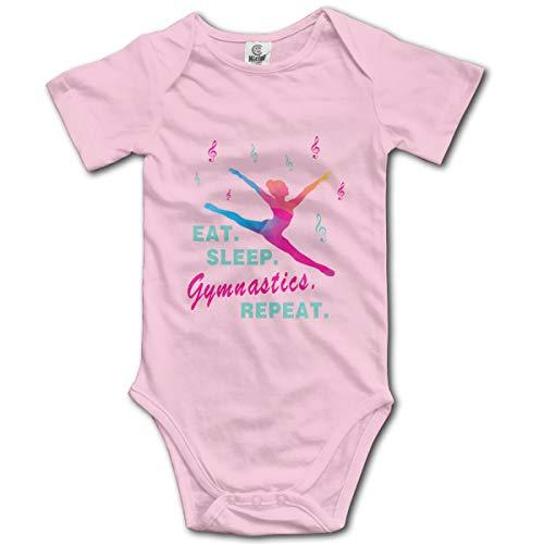 Abigails Home Eat Sleep Gymnastics Repeat-1 Neugeborenen Gilr's Babyspielanzug Kurzarm Säuglingskleinkindoverall(6M,Pink) Abigail Caps