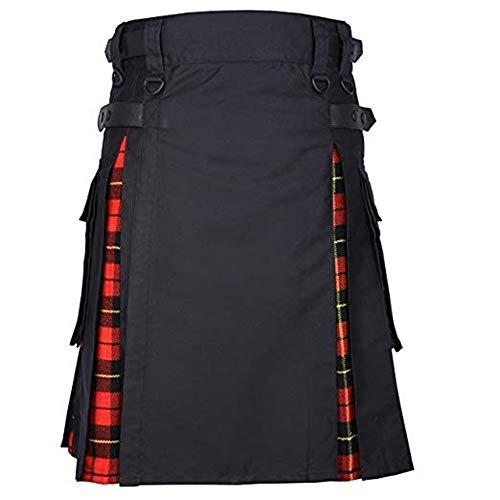 Puimentiua Herren Kilts Tartan Mode Mittellanger Rock Verstellbar Größe Schottischer Kilt mit Tasche -