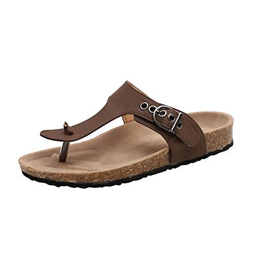 HLIYY  Femmes Sandales Plates Chaussures de Ville Été à Talons Plats Compensés Tong Confortable Flip Flops Chaussure Plage Vacances