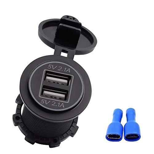 Upgrade Dual 4.2A USB Auto Ladebuchse Wasserdichte Stromversorgung Auto Ladebuchse Steckdose Rote LED Schnellladung Auto Ladeadapter für 12V~24V Fahrzeuge Auto Boot Motorrad SUV LKW Caravan Marine