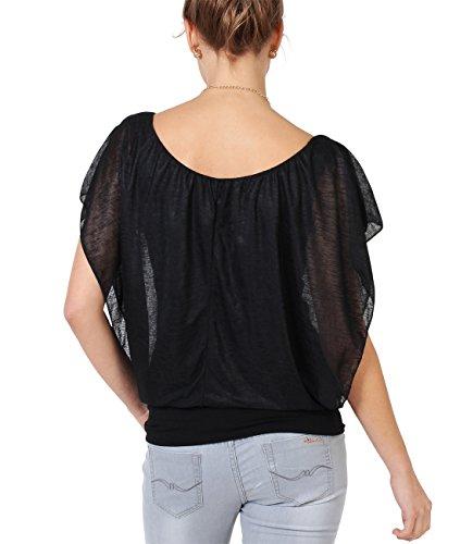 KRISP Damen 2in1 Oberteil Chiffon Top Elegante Bluse Schwarz (6093)