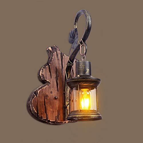 DASENLIN Wandleuchte, Vintage industrielle dekorative Beleuchtung Massivholz Kürbis Handwerk, Schmiedeeisen Nachttischlampe für Wohnzimmer/Schlafzimmer/Bar/Gang