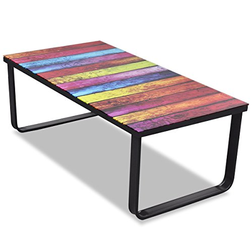 vidaXL Glass Coffee Table with Rainbow Printing