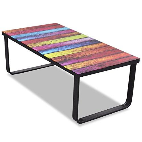 vidaXL Glass Coffee Table with Rainbow Printing