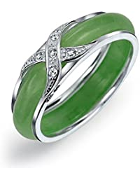 Bling Jewelry Dyed Green Jade Band CZ Criss Cross Sterling Silver Ring
