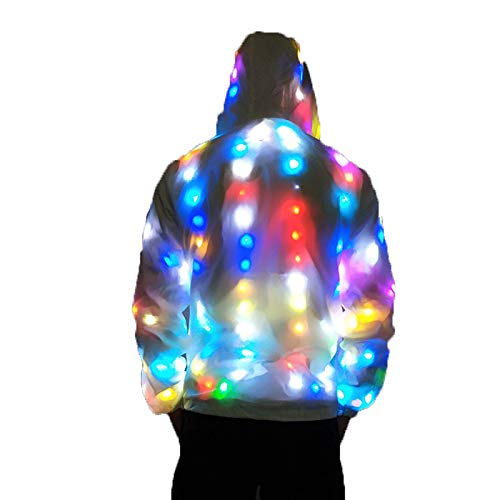 Simu EU LED Light Up Jacke, Unisex LED Glowing Jacke mit Kapuze leuchtender Mantel für Party Stage Perform