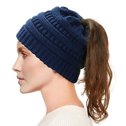 Damen Winter Strickmütze-Dafunna mit Bommel Bommelmütze Beanie Damen Ski Mütze Wollmütze Warm mit Zopfmuster Ohrenschutz (Blau Damen Mädchen)