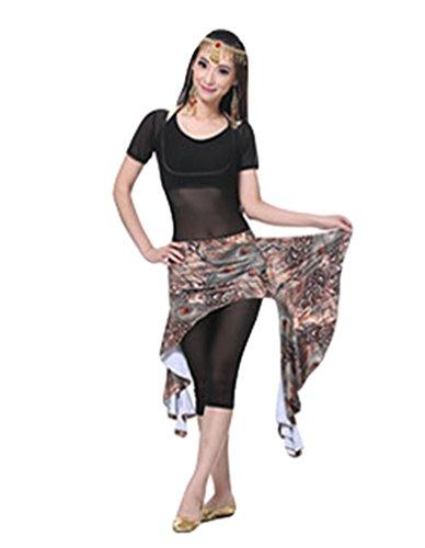 ZhiYuanAN Costume De Danse Du Ventre,Peacock Impression Jupe & Manches courtes Tops & Soutien-Gorge & Pantalon Set Café
