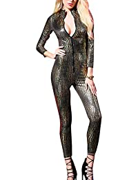 0efde8c95110 Panegy Womens Sexy Leather Catsuit Party Dancewear Unitard Bodycon One  Piece Stretch Bodysuit Nightclub Jumpsuit Playsuit