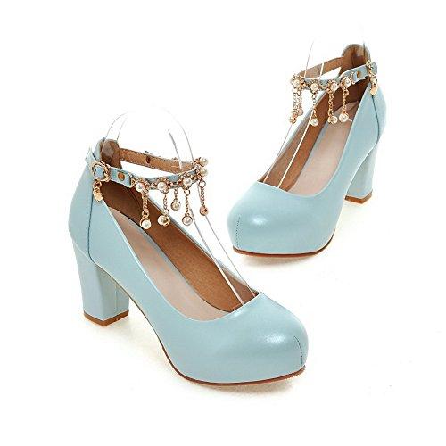AgooLar Femme à Talon Haut Rond Mosaïque Boucle Chaussures Légeres Bleu