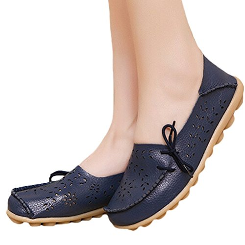 Vogstyle Mocassin Femme Casual Plat Tout-Match Chaussures Sandales Style 2 Marine bleu