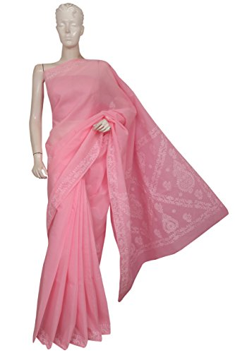 ADA Women's Cotton Hand Embroidered Lucknow Chikan Saree With Blouse Piece (A193350_Pink)
