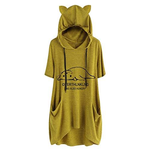 Yvelands Damen T-Shirt beiläufige Feste Katze-Ohr-mit Kapuze Kurze Ärmel Pocket Top Bluse Hooded(Gelb,CN-M)