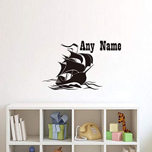 LOESHD Wandaufkleber Wandtattoo Segelboot Personalisierte Name Kinder Schlafzimmer Inter Interior Design Tapete Name Jungen Wandaufkleber Dekor 42X68 cm -
