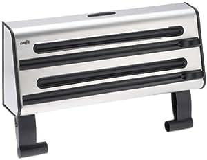 Emsa 504180 3-fach-Schneidabroller für Folie und Küchenrolle, Edelstahl, Silber/Schwarz, Contura