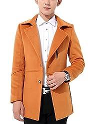 Creative Light- Hombres en la chaqueta de lana larga chaqueta de abrigo sobre el escudo de cuello de lana abrigo abrigo de lana ( Color : Naranja , Tamaño : 2XL )