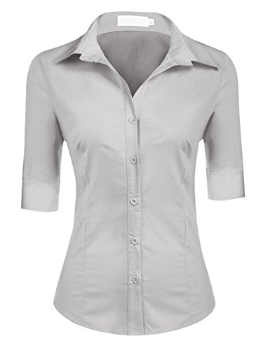 BeautyUU Damen Elegante Figurbetonte Bluse Hemd Oberteil mit 3/4 Ärmel Grau S