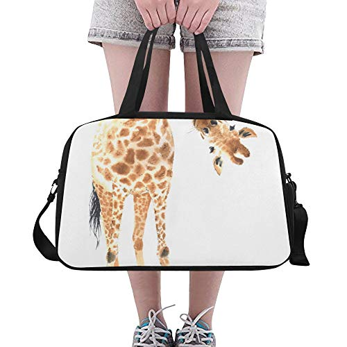 Yushg Lange große hübsche Giraffe große Yoga Turnhalle Totes Eignung Handtaschen Reise Seesäcke mit Schultergurt Schuhbeutel für Übung Sport Gepäck für die Frauen der Frauen im Freien (Giraffe Hobo)