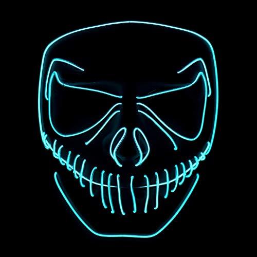 (Queta Party Maske, LED Light EL Wire Cosply Maske für Halloween Christmas Party Festival Kostüm Mask Purge Horror Mask by (Blau 1))