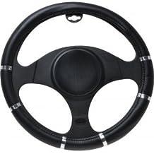 Funda de volante para Peugeot 206 de calidad superior, color negro y cromado