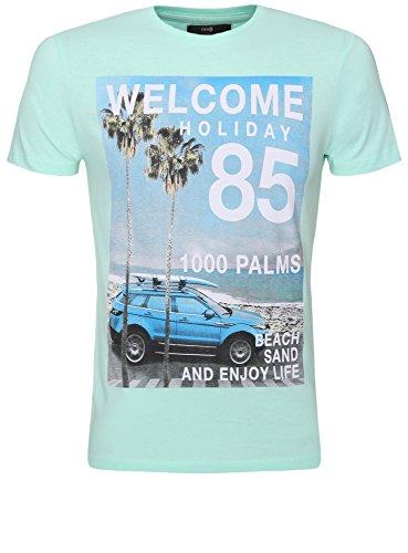 oodji Ultra Herren T-Shirt mit Strand-Druck Grün (6575P)