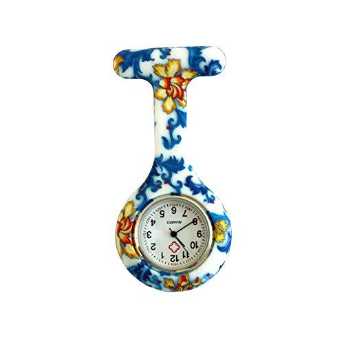 Boolavard TM Multi Farben Krankenschwester Brosche Fob Tunika Uhr Silikonhülle Krankenschwester Uhren (Blaue - Da Trägt Kostüm