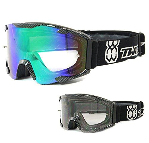 TWO-X Bomb Crossbrille Carbon Glas Light verspiegelt grün MX Brille Motocross Enduro Spiegelglas Motorradbrille Anti Scratch MX Schutzbrille
