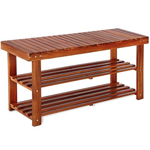 Deuba Schuhbank Schuhregal Sitzfläche Sitzbank Holz 3 Ebenen, 90 x 46 x 32 cm Massiv Schuhablage Holzregal, Braun -
