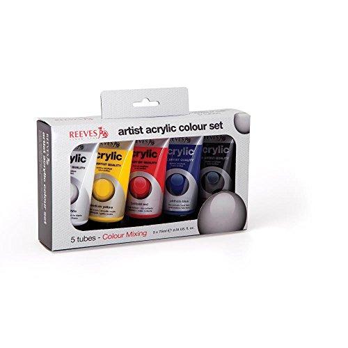 Reeves 83402 Colore acrilico, Acrylfarbe  Set, Set 5 x 75ml Tuben