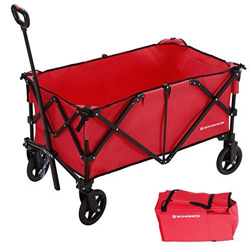 SONGMICS Chariot de Jardin Pliable, Aluminium, Charge 150 kg, Charette, avec 4 Roues et Freins en Acier, TÜV Rheinland Test, pour Eextérieur, Rouge GHT02RD