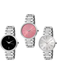 Kairos Casual Fancy Multi Color Round Dial Silver Chain Wrist Watch Combo For Girls Women & Ladies (Pack Of 3)