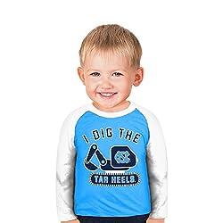 NCAA North Carolina Tar Heels Boys Toddler Digger Raglan, 3 Tall, Carolina Blue