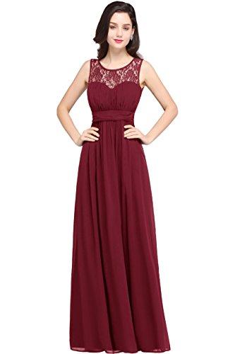 Damen Elegant Spitzen Abendkleid Ballkleid mit feiner Blumenstickerei Bodenlang Weinrot 32