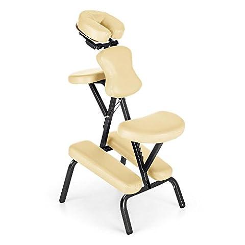 Klarfit MS 300 Siège chaise massage tatouage (en acier, max. 120kg, pliable et livré avec son sac de transport, rembourrage en mousse épais de 5 cm) -
