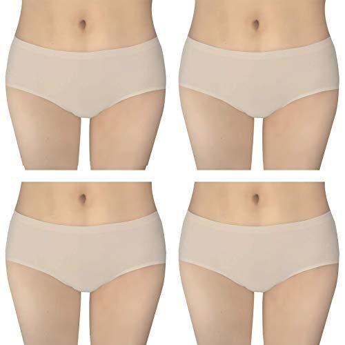 Bestele Nahtlose Unterhose Damen, Nahtlose Unterwäsche Nahlos Slips zum Frauen Sport Yoga Mädchen Tanzen, Seamless Panties Dehnbare Bequeme für Strumpfhosen HüfteRock (4*Hautfarbe, XL)