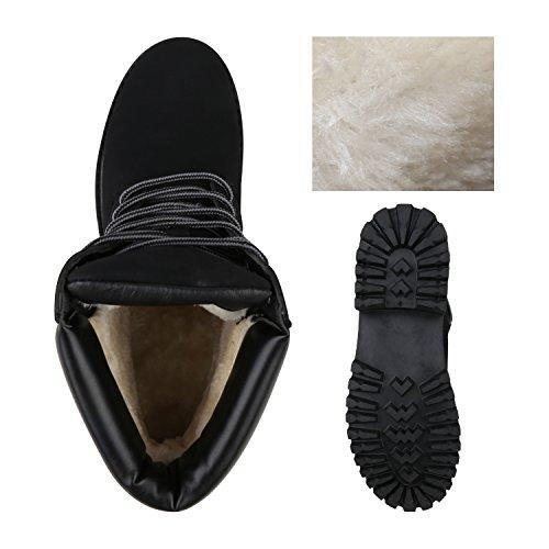 Stiefelparadies Damen Herren Unisex Warm Gefütterte Stiefeletten Outdoor Worker Boots Profilsohle Winterschuhe Camouflage Schuhe Übergrößen Flandell Schwarz Velours
