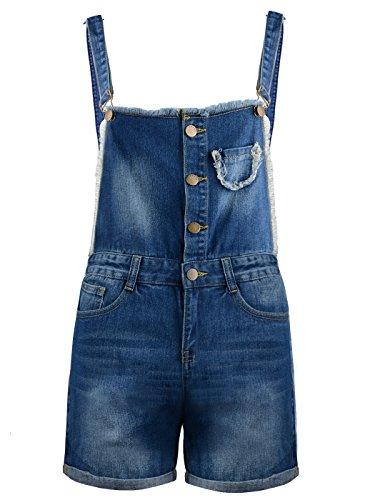 Anna-Kaci Frauen Denim Blue Whisker Distressed ausgefranste Tasche Low Cut Short Overalls