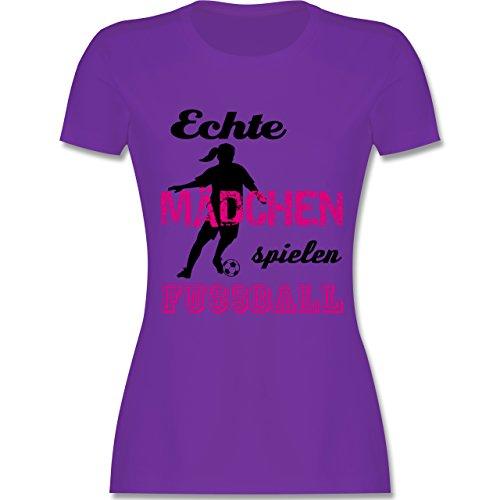 Shirtracer Fußball - Echte Mädchen Spielen Fußball - Schwarz - Damen T-Shirt Rundhals Lila