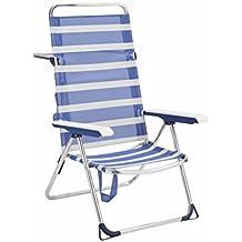 Alco 6705ALF-1556 Silla Playa Alta, fibreline, 2x1, bicomponente Rayas Azules Y