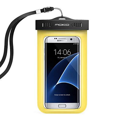 MoKo Wasserdichte Hülle IPX8 Tasche Schutzhülle mit Schwimmend für iPhone X iPhone 8 7 6 6S 5SE 7 Plus, Huawei P10 Plus Samsung Galaxy S9 S7 Edge J5 A5, bis zu 5.7 Zoll Smartphone, Gelb