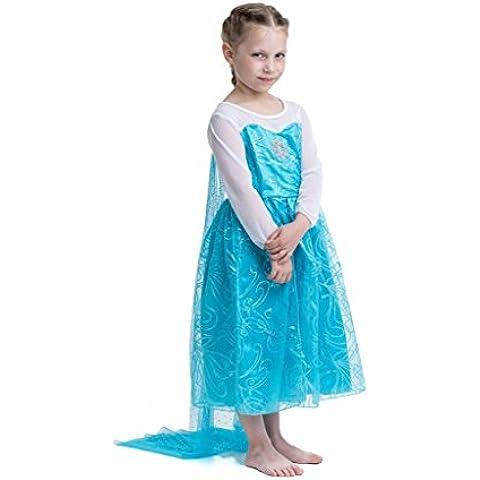 Princesa Frozen- Traje de niñas / Snow Princess Glitter traje y Copos de nieve - Azul -Talla 92-98 (100 cm)