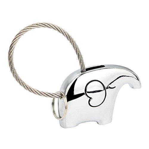 Schlüsselanhänger Valentinstag Geschenk,UFACE Romantisches Paar Keychain Netter Elefant Modell Schlüsselring Anhänger Dekoration (Silber) (Holz Name Keychain)
