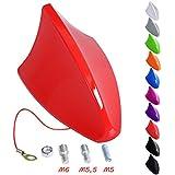 WOLTU Antena universal para coche antena de techo antena de tiburón AM & FM Rojo Brillante AT7028rt