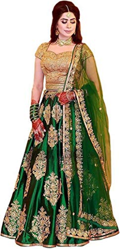 MR Fashion Women\'s Green Taffeta Silk hawy Embroidered Semi-Stitched Lehenga Choli & duppata set