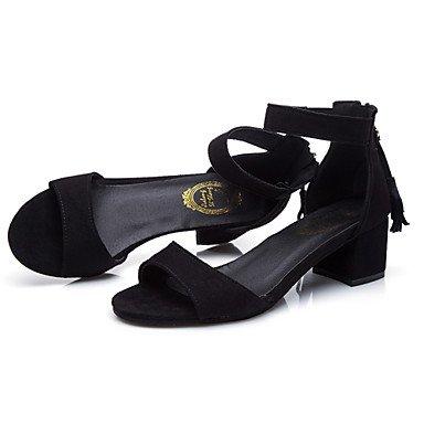LvYuan sandali estate d'Orsay&due pezzi ufficio esterno in pile&carriera tacco grosso casuale cerniera a piedi Black
