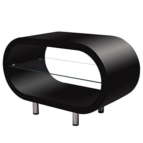 Vislone Modern Design Couchtisch Fernseh Tisch Hochglanz, Glaselement mit Glasplatte Oval Schwarz
